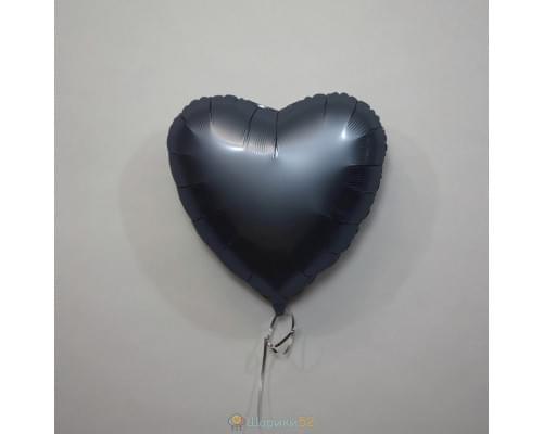 "Шар сердце 18"" Сатин Steel Blue"
