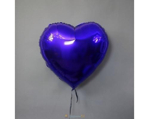 "Шар сердце 32"" металлик Фиолетовое"