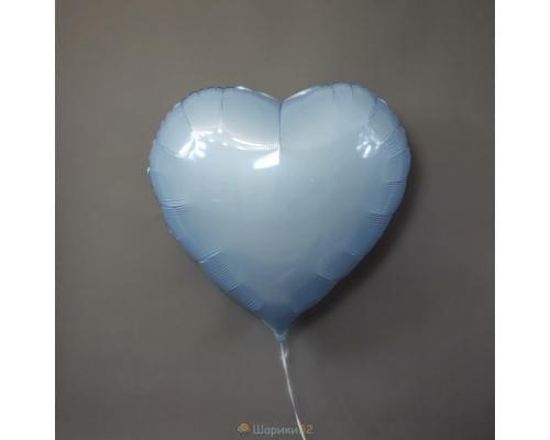 """Шар сердце 32"""" металлик Голубая"""