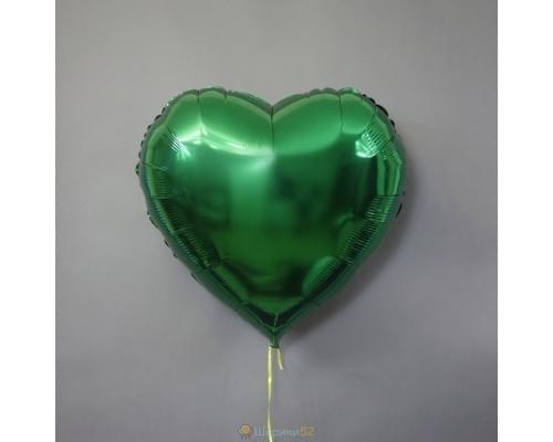 """Шар сердце 32"""" металлик Зеленое"""