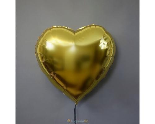 "Шар сердце 32"" металлик Золото"