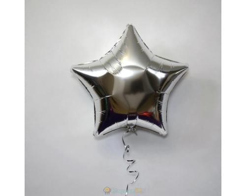 """Шар звезда 18"""" металлик Серебро"""