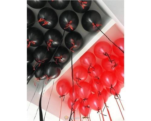 Шарики под потолок чёрно красные 15 шт