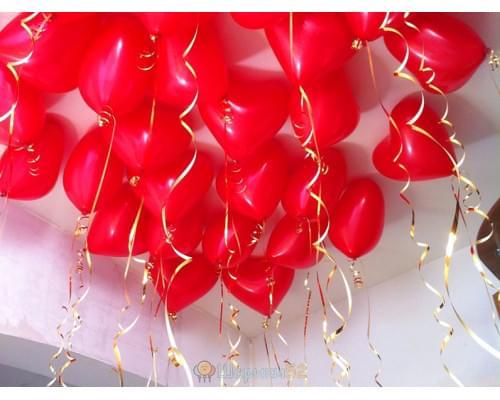 Шарики под потолок Сердца Средние красные 15 шт