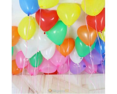 Шарики под потолок Сердца Средние Разноцветные 15 шт