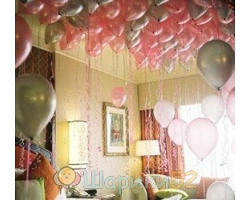Шарики под потолок Розовое серебро 15 шт