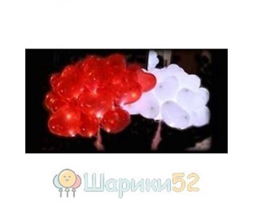 Светящиеся сердца 25 шт(красный, розовый, белый)