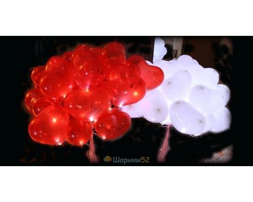 Светящиеся сердца 50 шт(красный, розовый, белый)