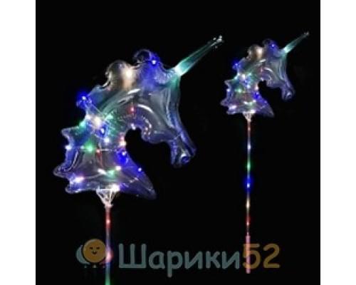 Светящиеся Шары Bubble (Баблс-Бобо) Единорог со светящей лентой на палочке