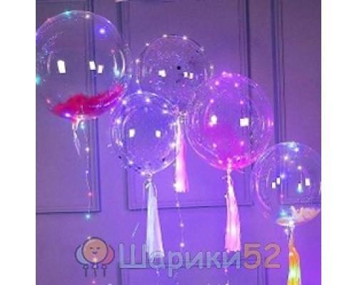 Светящиеся Шары Bubble (Баблс-Бобо) с гелием, перьями и светящейся лентой